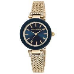 Anne Klein Womens Gold Tone Rhinestone Face Round Dial Watch
