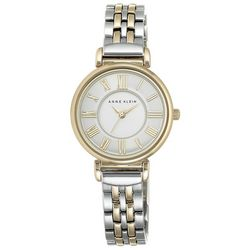 Anne Klein Womens Two Tone Round Link Watch