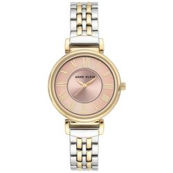 Anne Klein Womens Two Tone Rose Round Bracelet Watch