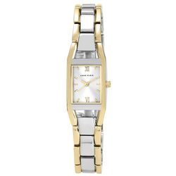 Anne Klein Womens Two Tone Rectangle Watch