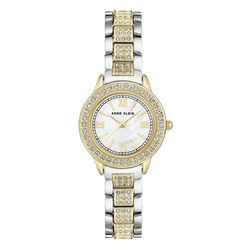 Anne Klein Womens Two Tone Rhinestone Round Watch