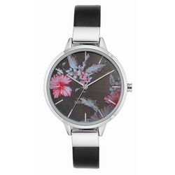 Nine West Womens Floral Silver Tone Strap Watch
