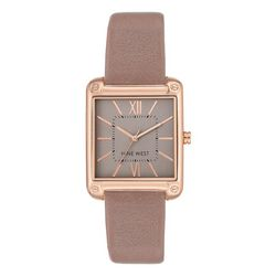 Nine West Womens Rose Rectangle Strap Watch