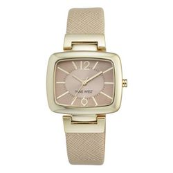 Nine West Womens Gold Tone Square Face Strap Watch