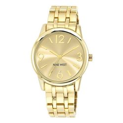 Nine West Womens Gold Tone Round Bracelet Watch