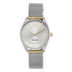 Nine West Womens Two Tone Round Mesh Watch