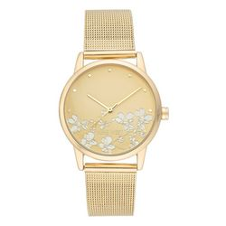 Nine West Womens Floral Gold Tone Round Mesh Watch