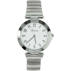 Geneva Womens Silver Tone Round Stretch Watch
