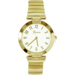 Geneva Womens Gold Tone Round Stretch Watch