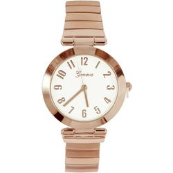 Geneva Womens Rose Gold Tone Round Stretch Watch