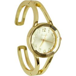 Geneva Womens Gold Tone Cuff Watch