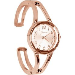 Geneva Womens Rose Gold Tone Cuff Watch