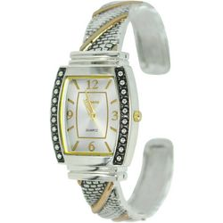 Geneva Womens Two Tone Rhinestone Cuff Watch