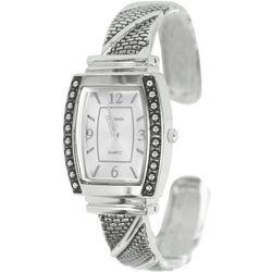 Geneva Womens Silver Tone Rhinestone Cuff Watch