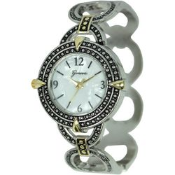 Geneva Women's MOP Face Two Tone Link Bangle Watch