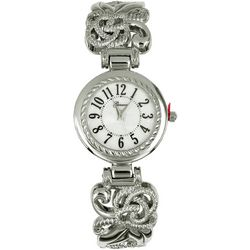 Geneva Womens Silver Tone Filigree Cuff Watch