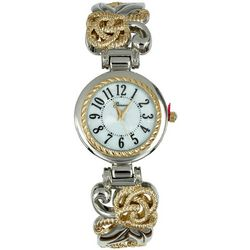 Geneva Womens Two Tone Filigree Cuff Watch