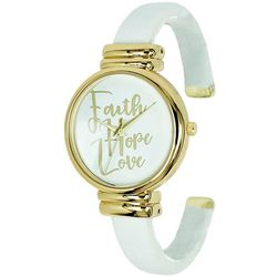 Geneva Womens Gold Tone Faith Hope Love Cuff Watch