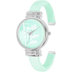 Geneva Womens Silver Tone Faith Hope Love Cuff Watch