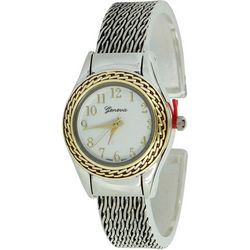 Geneva Womens Two Tone Chain Link Texture Cuff Watch