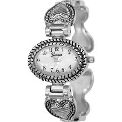 Geneva Womens Silver Tone Heart Shapes Cuff Watch