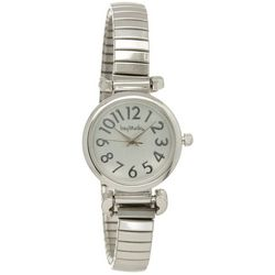 Bay Studio Womens EZ Read Silver Tone Stretch Watch