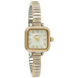 Bay Studio Womens Two Tone Roman Numeral MOP Stretch Watch