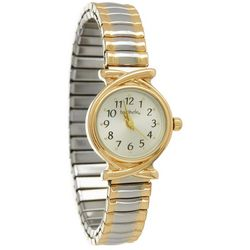 Bay Studio Womens EZ Read Two Tone Stretch Watch