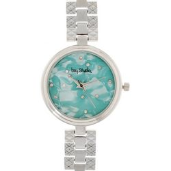 Bay Studio Womens Aqua Blue MOP Dial Bracelet Watch