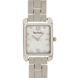 Bay Studio Womens Silver Tone Rectangle MOP Add A Link Watch