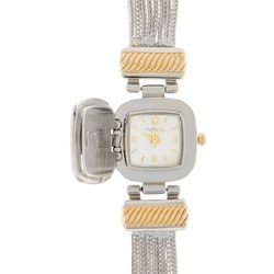 Bay Studio Womens Two Tone Hinged Peek-A-Boo Watch