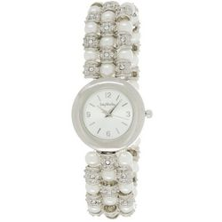 Bay Studio Womens Rhinestone & Faux Pearl Bracelet Watch