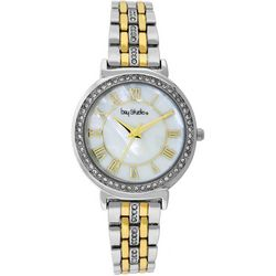 Bay Studio Womens Mother Of Pearl Face Two Tone Watch