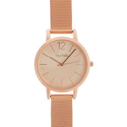 Bay Studio Womens Matte Rose Gold Tone Mesh Band Watch