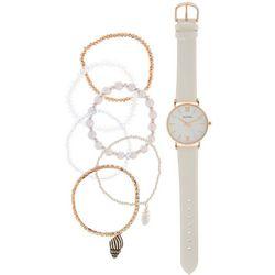 Bay Studio Womens White Strap Watch & Bracelet Set