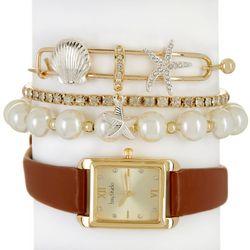 Bay Studio Womens Glamour Ocean Strap Watch &  Bracelet Set