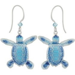 Bamboo Jewelry Flatback Hatching Sea Turtle Drop Earrings