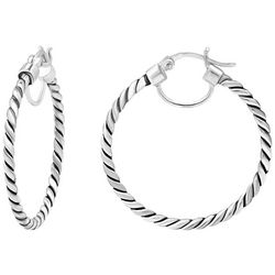 Signature Sterling Silver Twist Texture Round Hoops