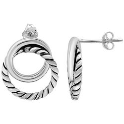 Signature Sterling Silver Twist & Smooth Double Hoops
