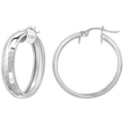 Signature Sterling Silver Textured Tube Hoops