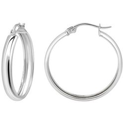 Signature Sterling Silver Medium Wide Round Hoops