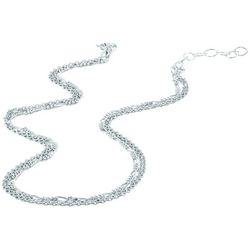 Signature Sterling Silver Two Row Double Link Chain Necklace