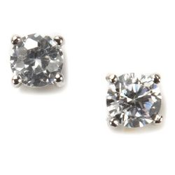 Signature Sterling Silver CZ Stud Earrings