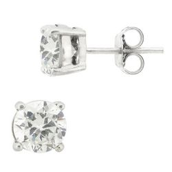 Signature Sterling Silver Round CZ Stud Earrings