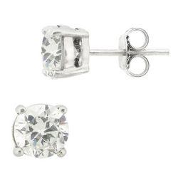 Sterling Silver Round CZ Stud Earrings