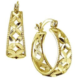 Signature 18K Gold Plated Filigree Hoop Earrings