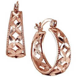 Signature Rose Gold Tone Filigree Hoop Earrings