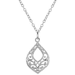Signature Filigree Teardrop Sterling Silver Necklace