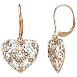 Signature Two Tone Filigree Heart Earrings