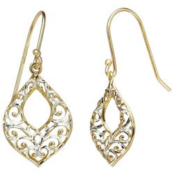 Signature Two Tone Filigree Teardrop Earrings